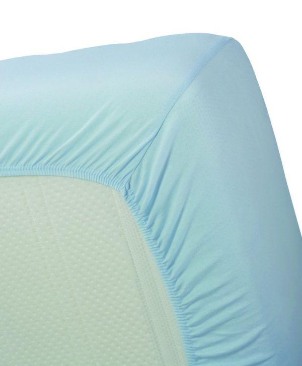 Cearceaf albastru cu elastic bumbac 80x200 cm Jersey HL Light Blue
