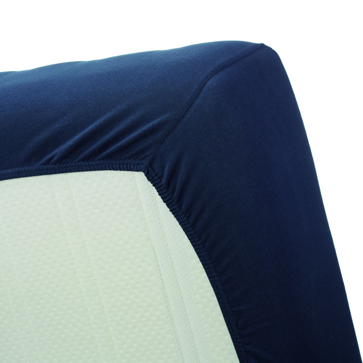 Cearceaf albastru inchis pat cu elastic 160x200 cm Jersey HL Navy