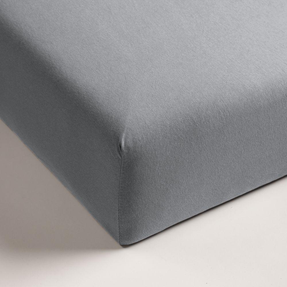 Cearceaf gri pat bumbac cu elastic 160x200 cm Jersey HL Light Grey