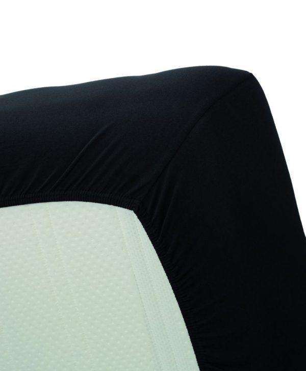 Cearceaf negru pat bumbac elastic 160x200 cm Jersey HL Black