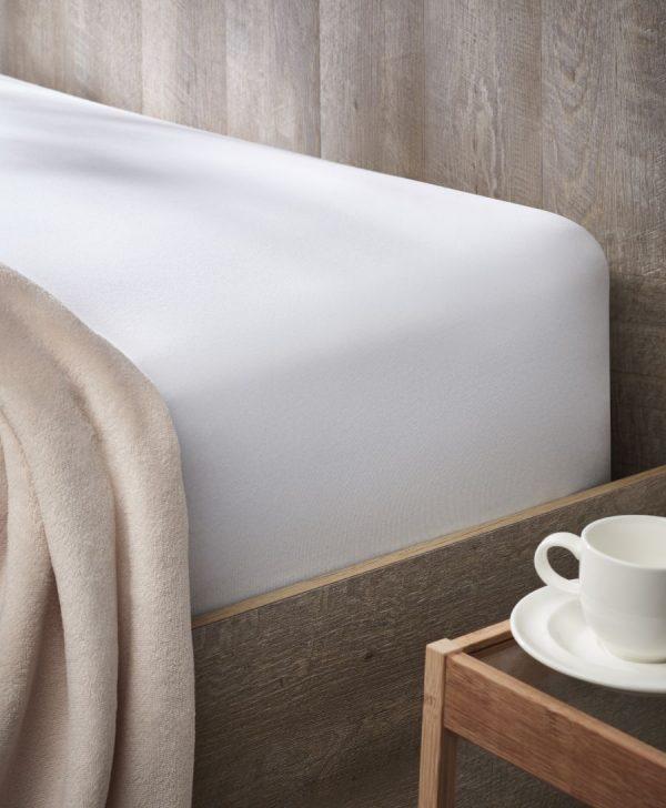 Cearceaf pat alb cu elastic 180x200 cm 932 Jersey Relax