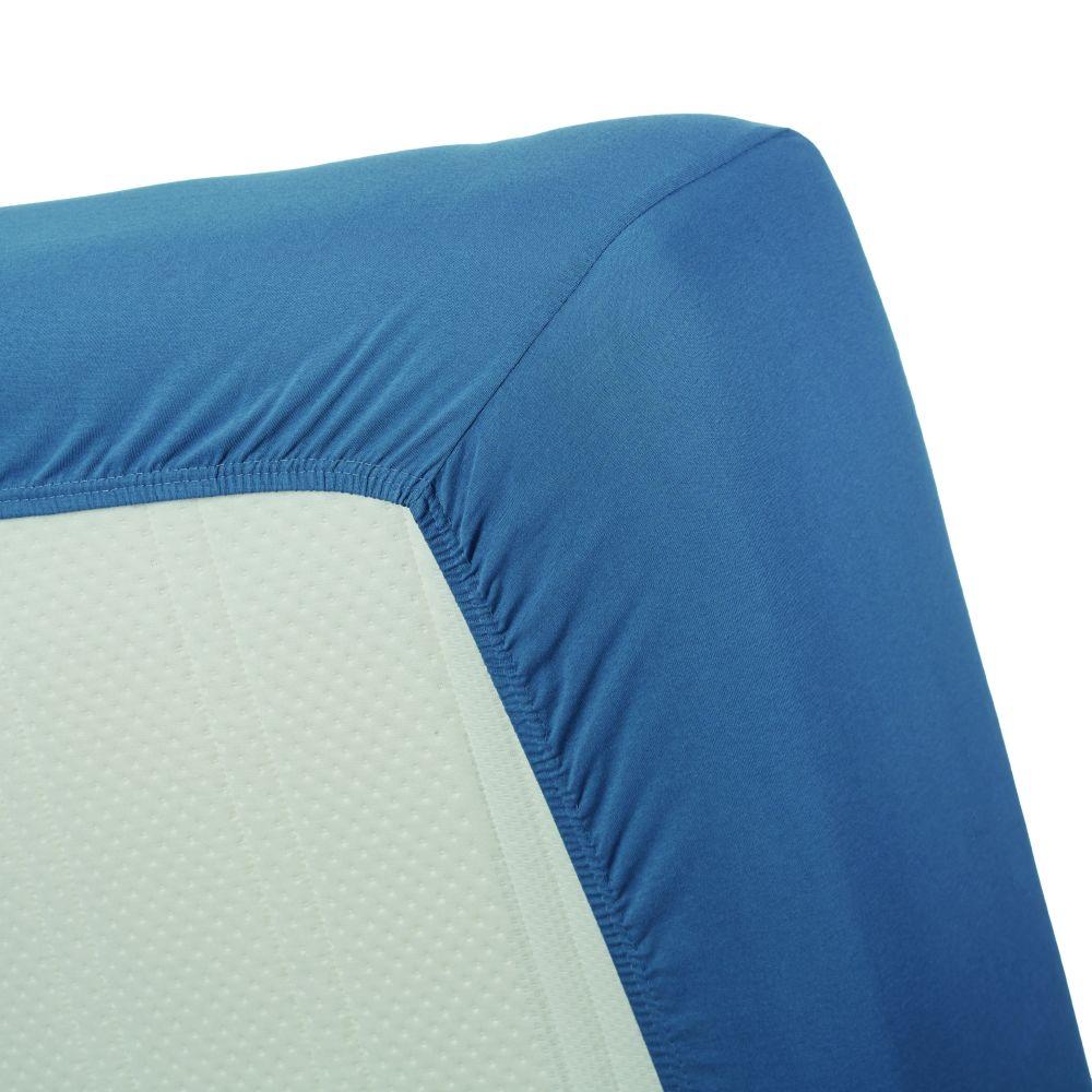 Cearceaf pat albastru cu elastic 160x200 cm Jersey HL Blue