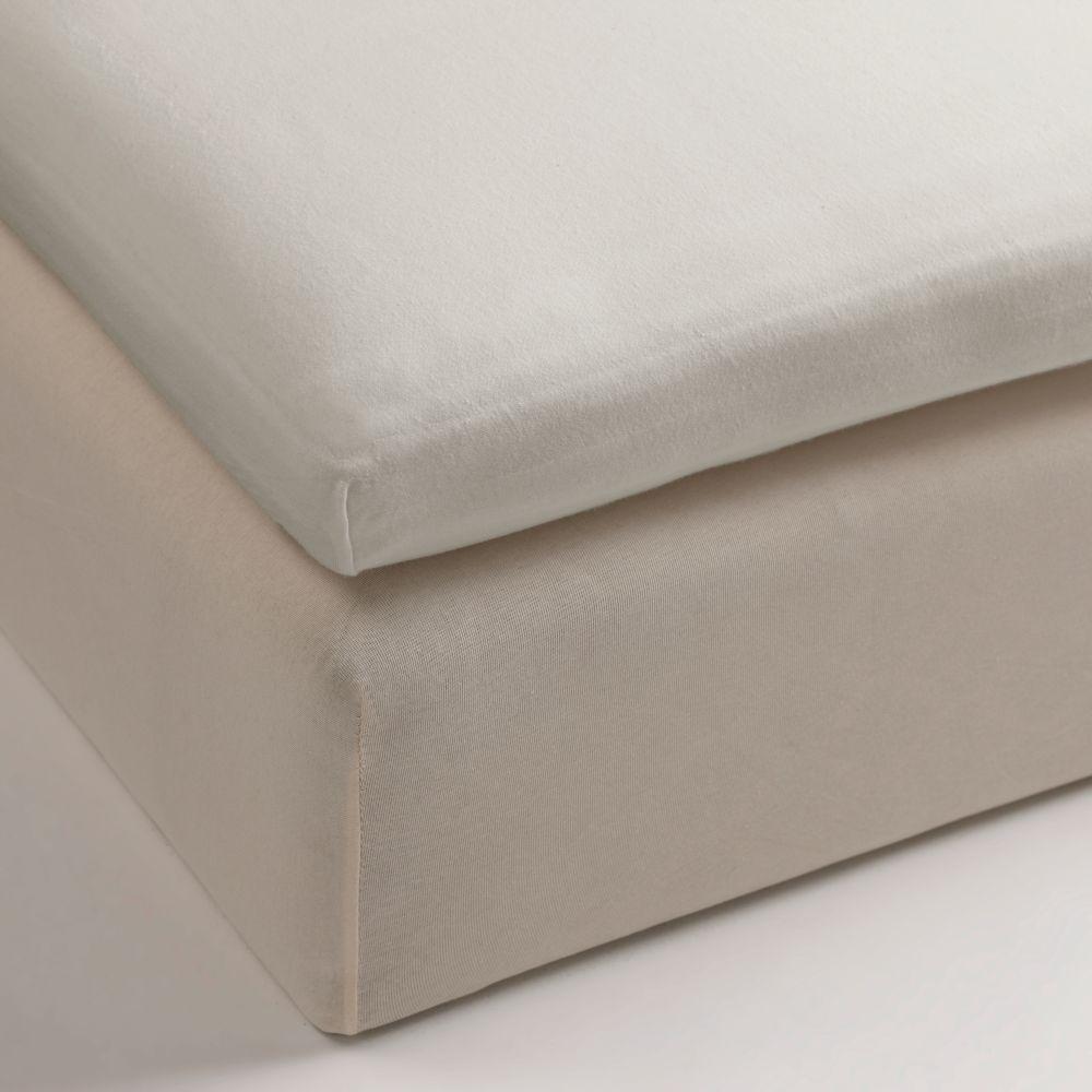 Cearceaf pat bej inchis bumbac elastic 80x200 cm Jersey TP Sand