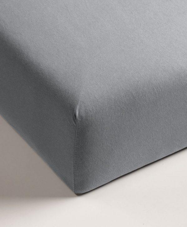 Cearceaf pat gri cu elastic bumbac 160x200 cm Jersey TP Light Grey