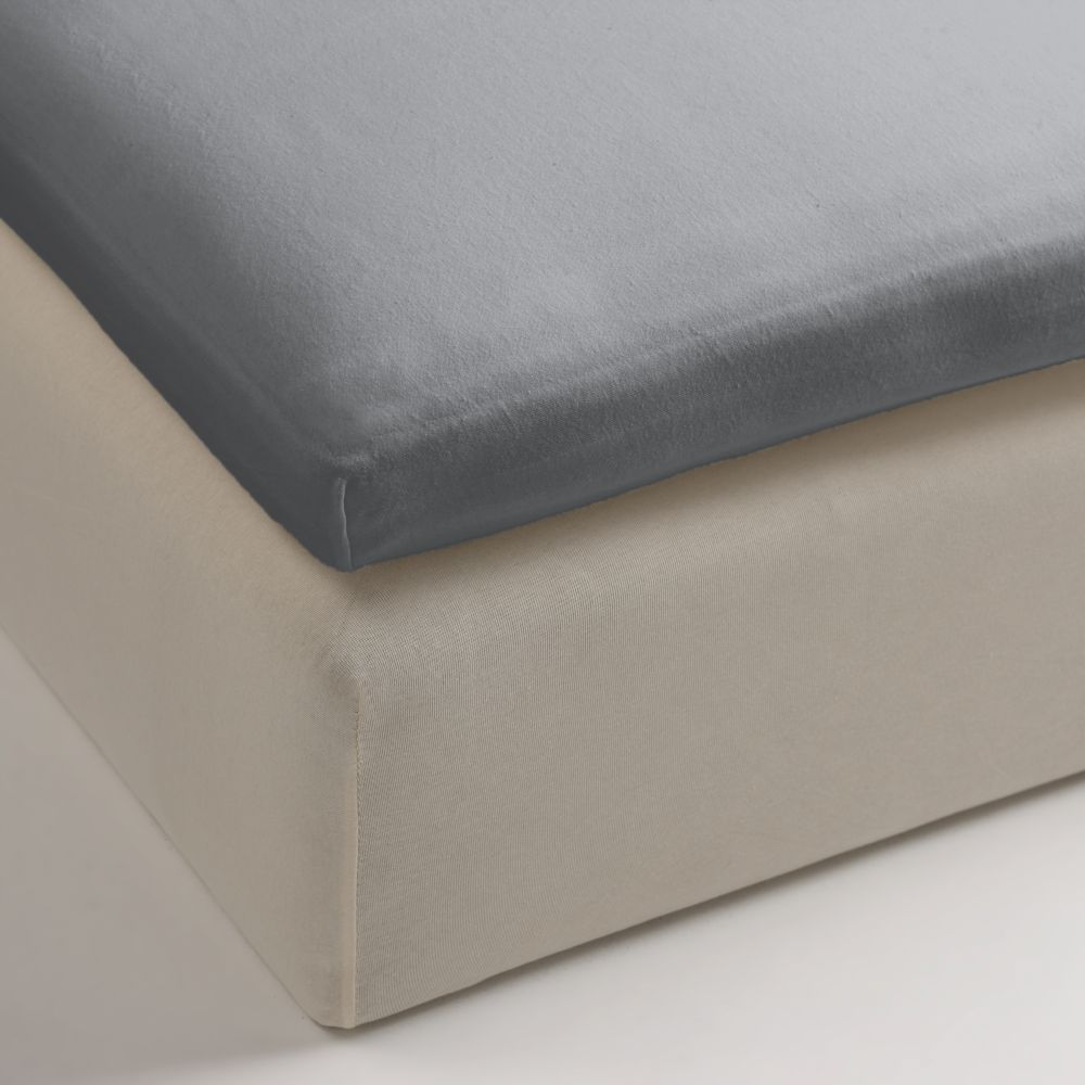 Cearceaf pat gri deschis cu elastic bumbac 80x200 cm Jersey Tp Light Grey