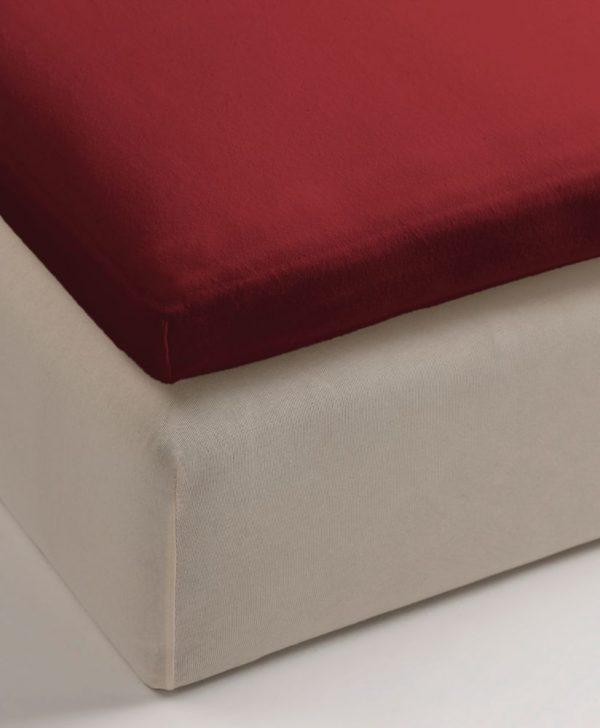Cearceaf rosu pat elastic 80x200 cm Jersey TP Red