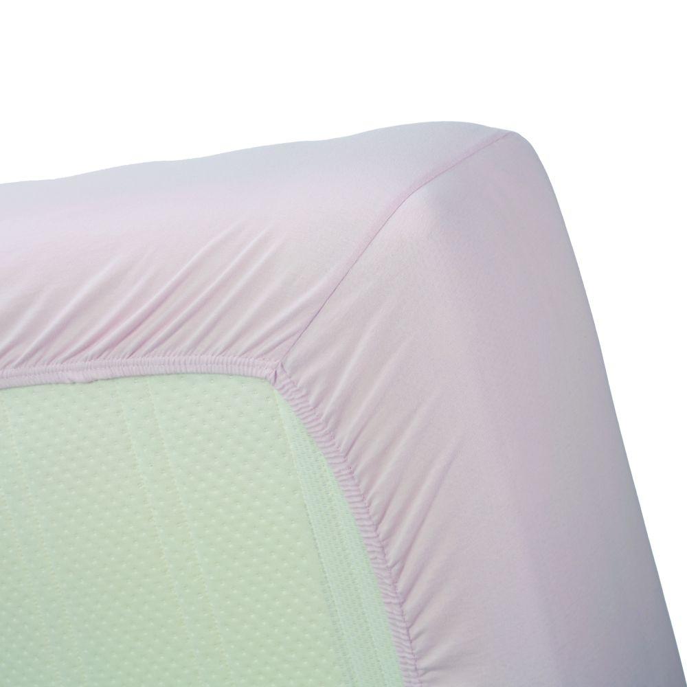 Cearceaf roz pat bumbac elastic 160x200 cm Jersey HL Soft Pink