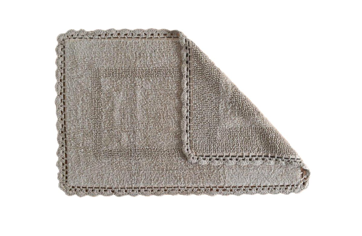 Covoras bej inchis baie bumbac 401 Crochet 04 Beig 50x80 cm