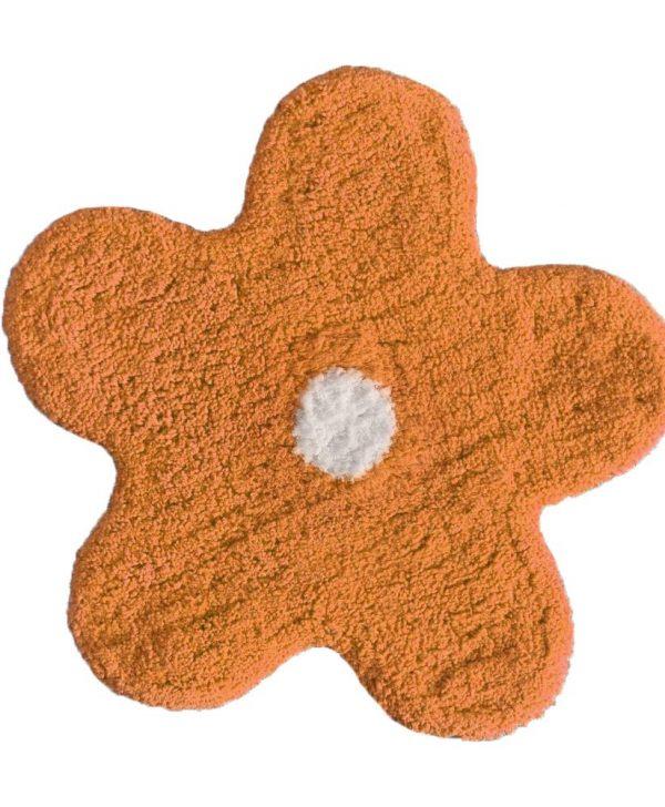 Covoras portocaliu baie bumbac steluta 402 Alegra diam. 50 cm