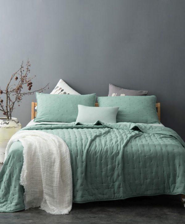 Cuvertura eleganta pat verde 5095 Iroise 230x250 cm