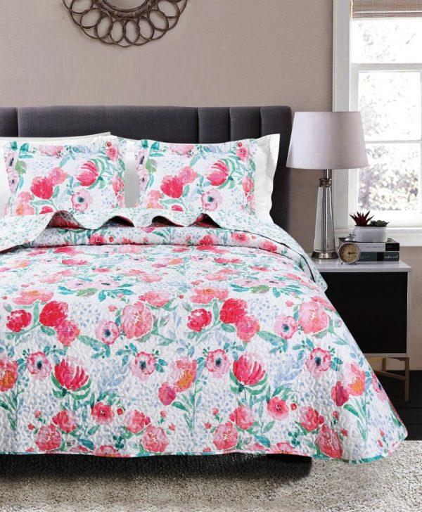 Cuvertura florala pat dublu dormitor 7846 Mia 235x270 cm