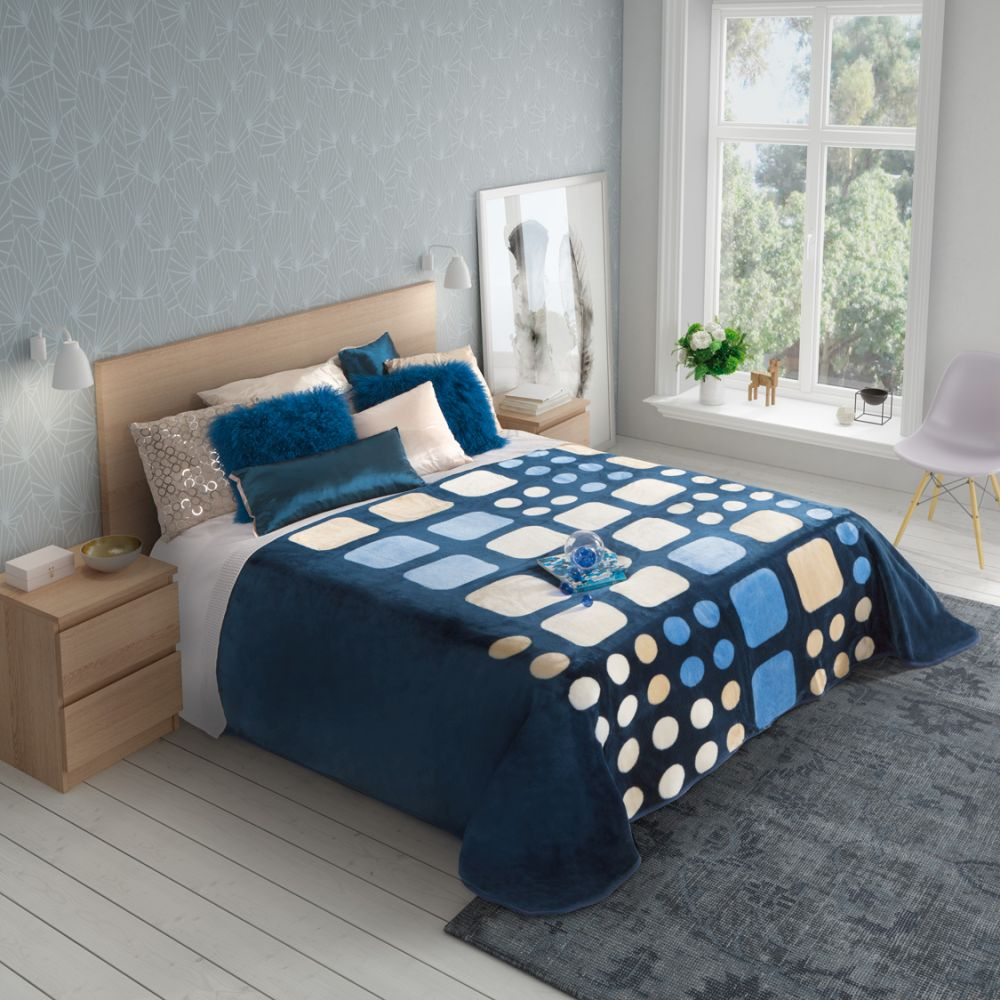 Cuvertura pat albastra moderna 5336 220x240 cm