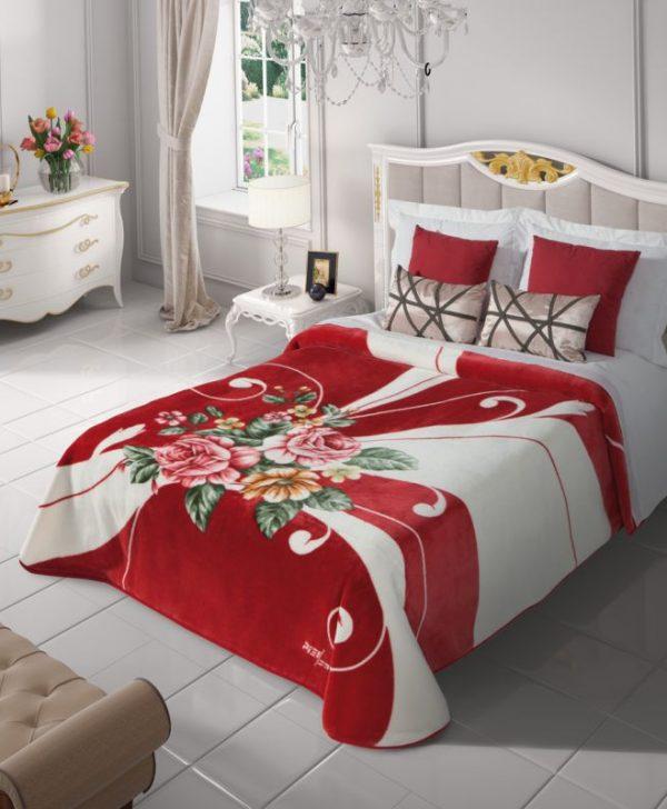 Cuvertura pat rosie flori  5136 220x240 cm