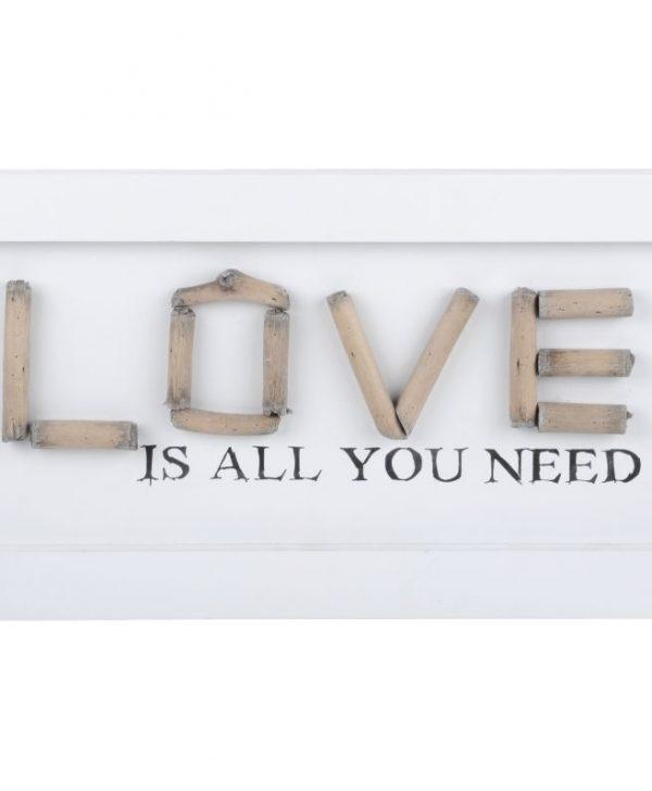 Decoratiune perete Love alba Charline 48X20 cm