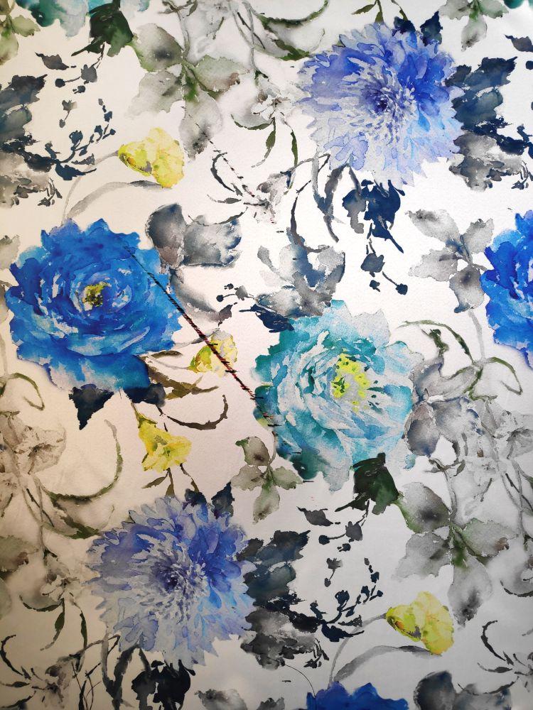 Draperie blackout flori albastre Dim Out Abril Allov Azul 300 cm