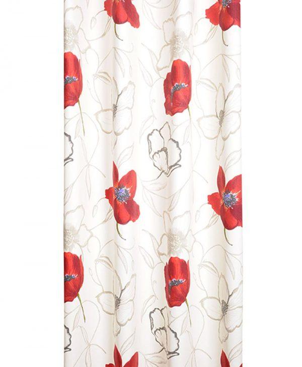 Draperie flori mac rosu bumbac Appoline 135x250 cm