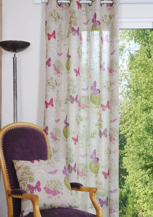 Draperie fluturi colorati 4588 Butterfly Naturel 135x250cm