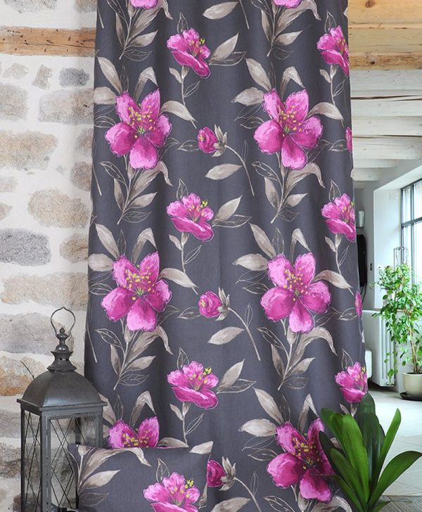 Draperie mov florala bumbac Lancaster 135x250 cm