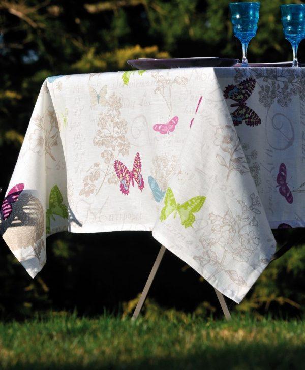 Fata masa alba fluturi colorati 4588 Butterfly Blanc 140x140 cm