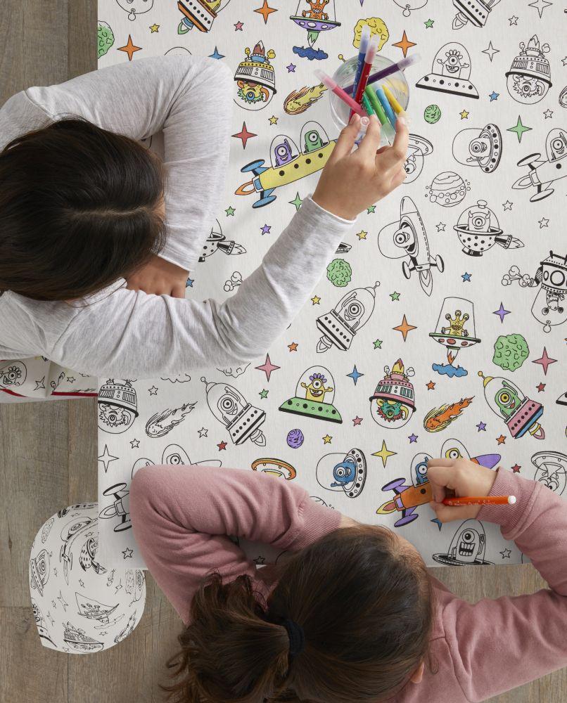 Fata masa copii de colorat 8018 Aliens 150x150 cm