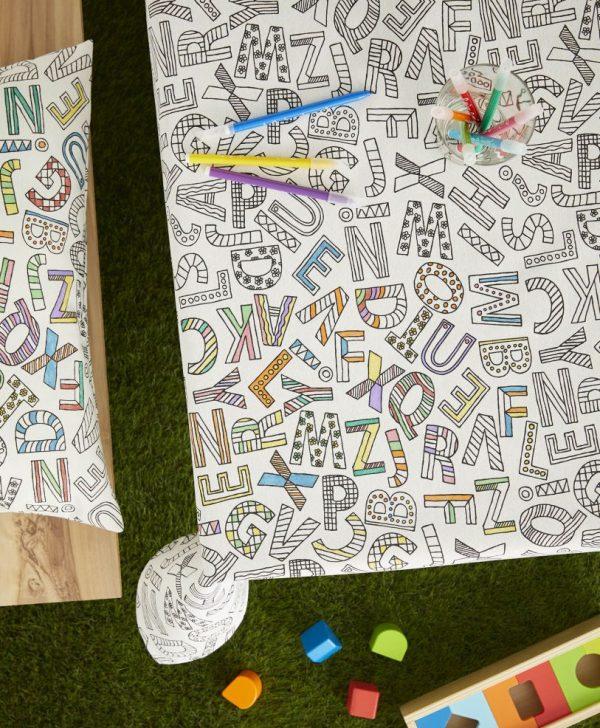 Fata masa copii litere de colorat 8019 Alphabet 150x150 cm
