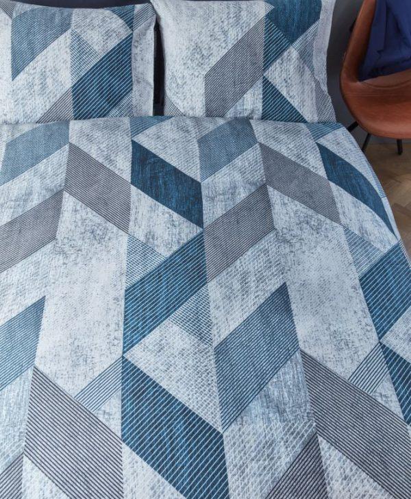 Lenjerie pat albastra geometrica Tuur Blue 200x200/220 cm