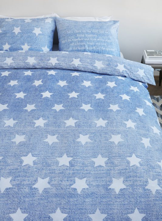 Lenjerie pat albastra stele Starry Sky 200x200/220 cm