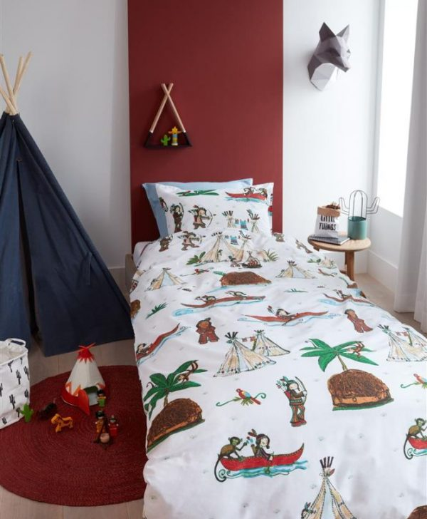 Lenjerie pat copii cu indieni WigWam 140x200/220 cm