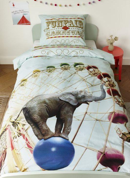 Lenjerie pat copii elefant carusel Circus 140x200/220 cm