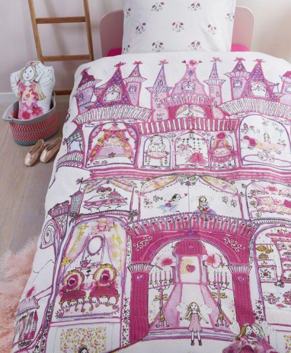 Lenjerie pat fetite roz Fairy Palace 140x200-220 cm