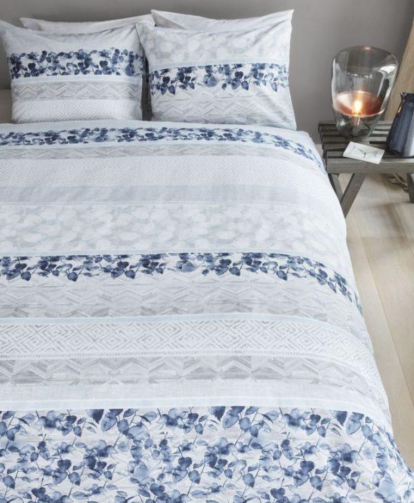 Lenjerie pat frunze albastre Forest Voice Bleu 200x200/220 cm