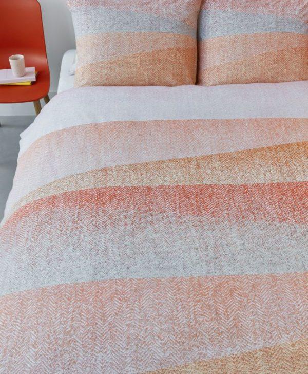 Lenjerie pat portocalie bumbac Cascadas Corail 200x200/220 cm
