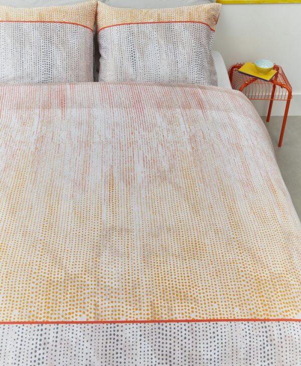 Lenjerie pat satinata portocalie Libby Orange 200x200/220 cm