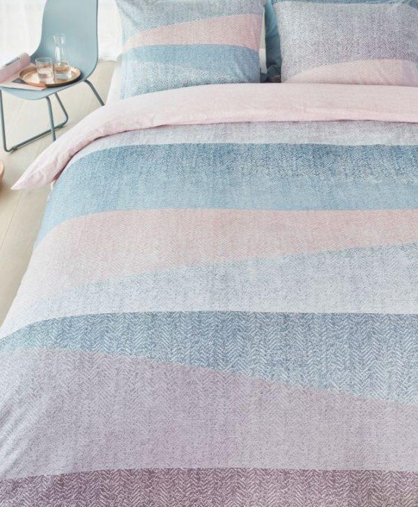Lenjerie pat turcoaz roz Cascadas Pastel 200x200/220 cm