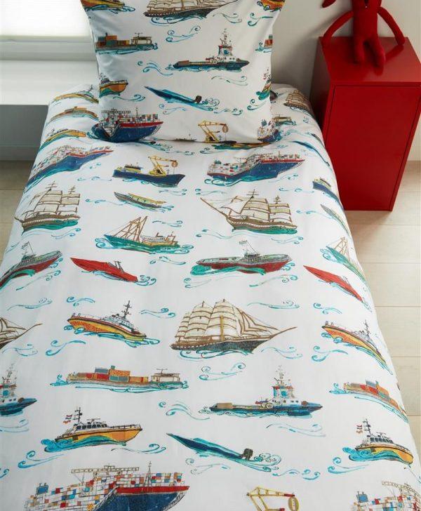 Lenjerie pat vapoare baieti Ships Blue 140x200/220 cm