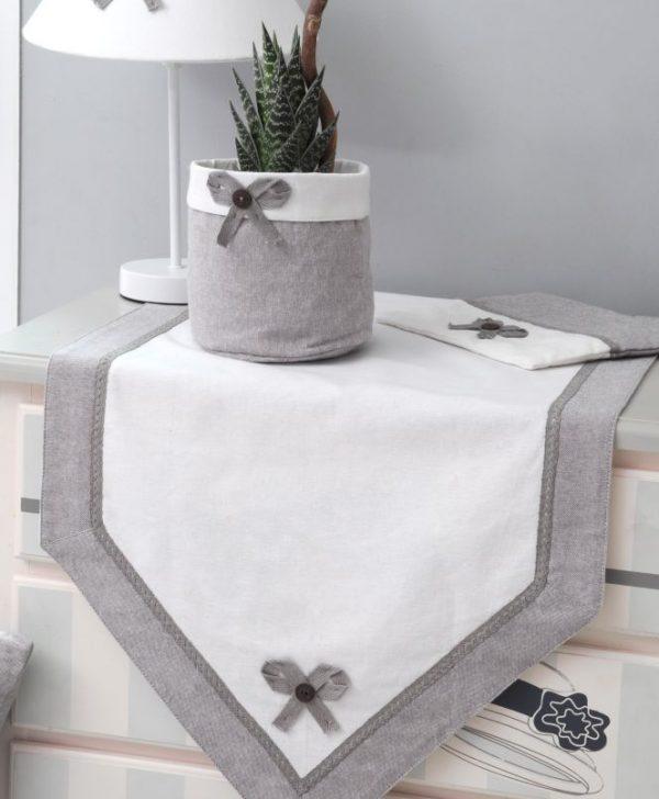 Napron alb gri pentru masa bumbac Charmelia Gris 50X150 cm