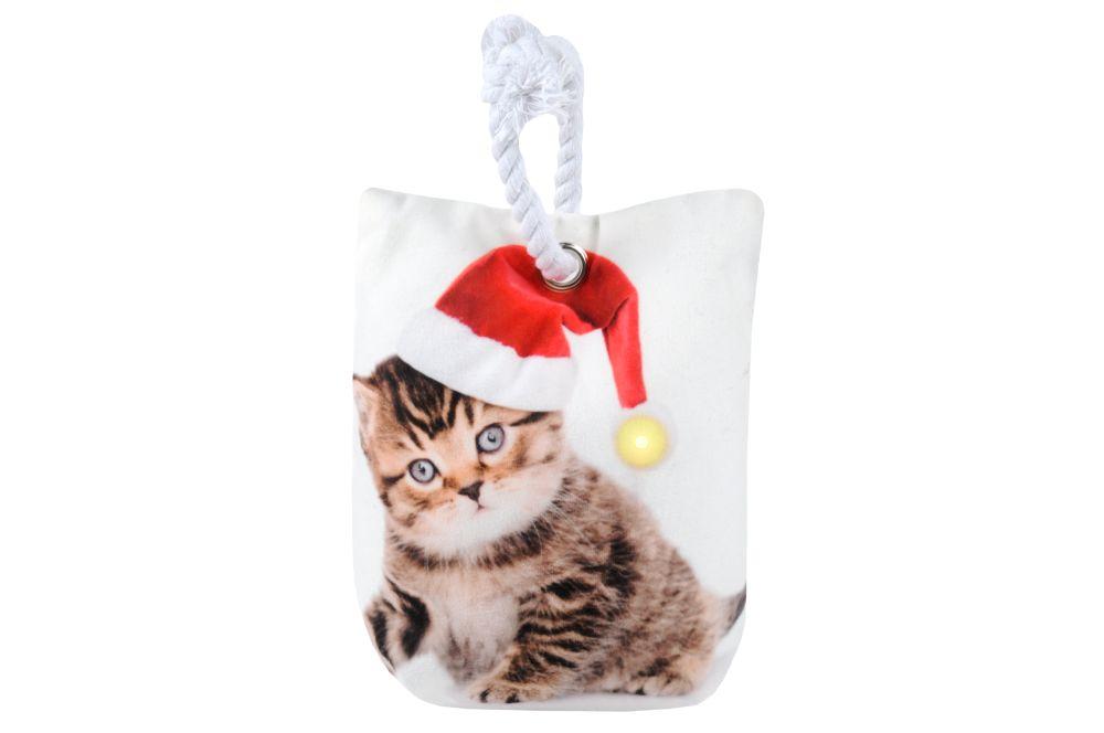 Opritor usa Craciun luminita pisica Jinglebells Chat 16x23 cm