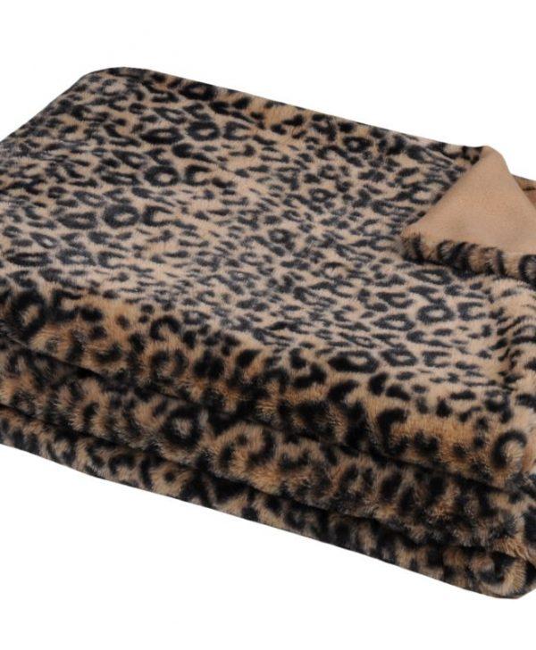 Patura animal print Leopard Jangal Fauve 130x160 cm