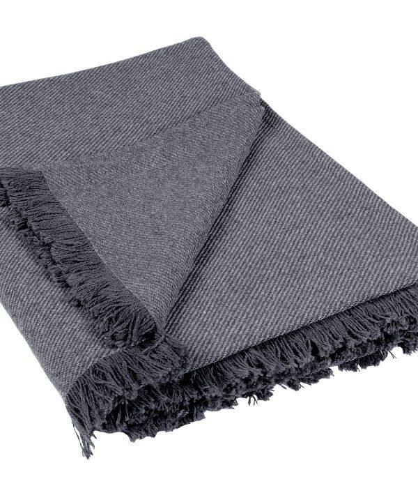 Patura gri inchis franjuri 590 Wooly 92 150x150 cm