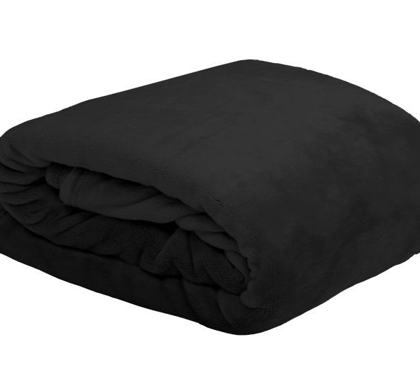 Patura neagra pufoasa 5792 Doudou Noir 130x160 cm
