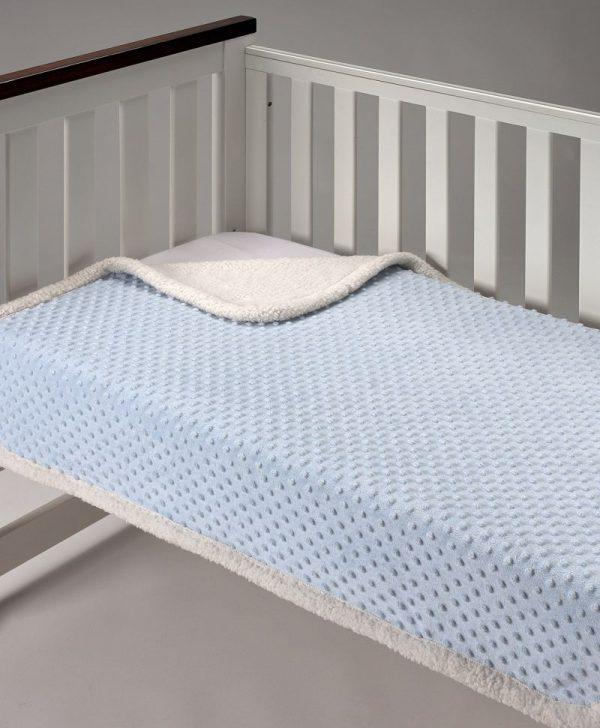 Patura pufoasa albastra copii Topitos Sherpa 044 110x140 cm