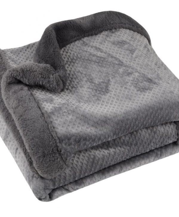 Patura pufoasa gri inchis Fluff Anthracite 130x160 cm
