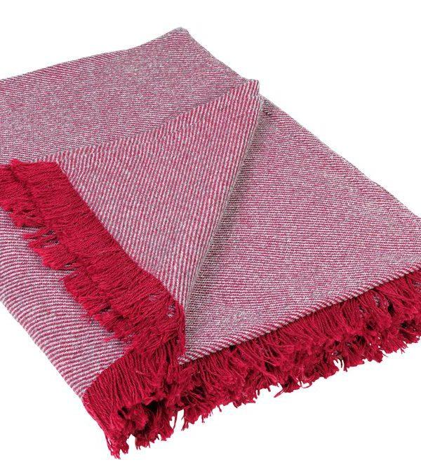 Patura rosie franjuri 590 Wooly 69 150x150 cm