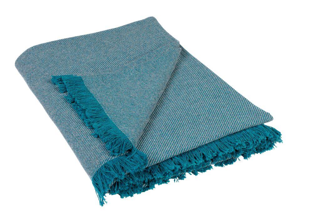 Patura turcoaz franjuri 590 Wooly 85 150x150 cm