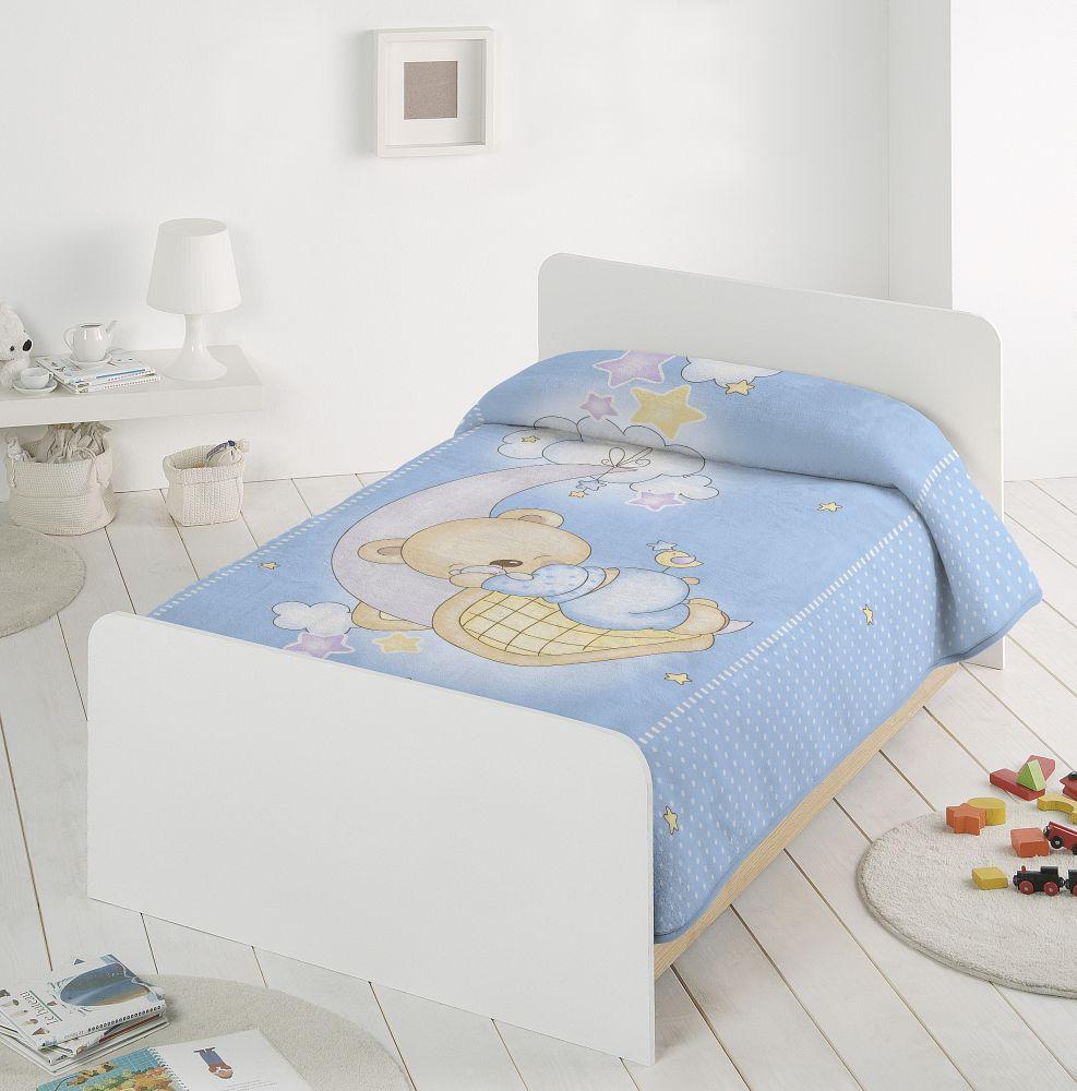 Paturica albastra cu ursulet 6375 110x140 cm