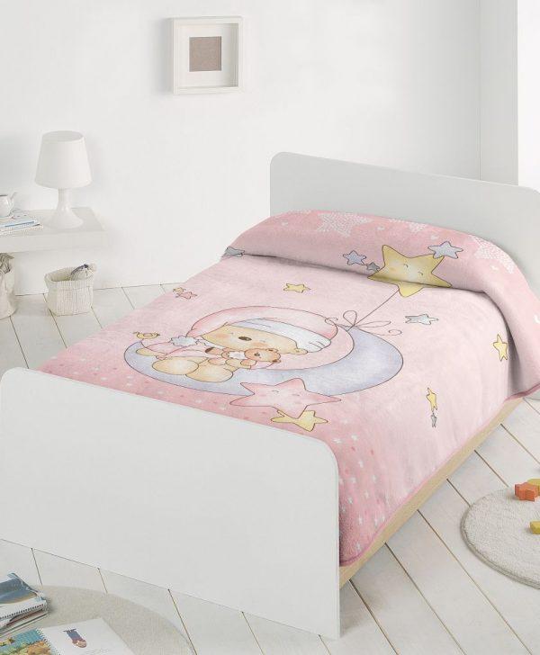 Paturica fetite roz ursulet 6376 110x140 cm
