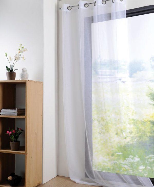 Perdea alba confectionata Lisa Blanc 135x260 cm