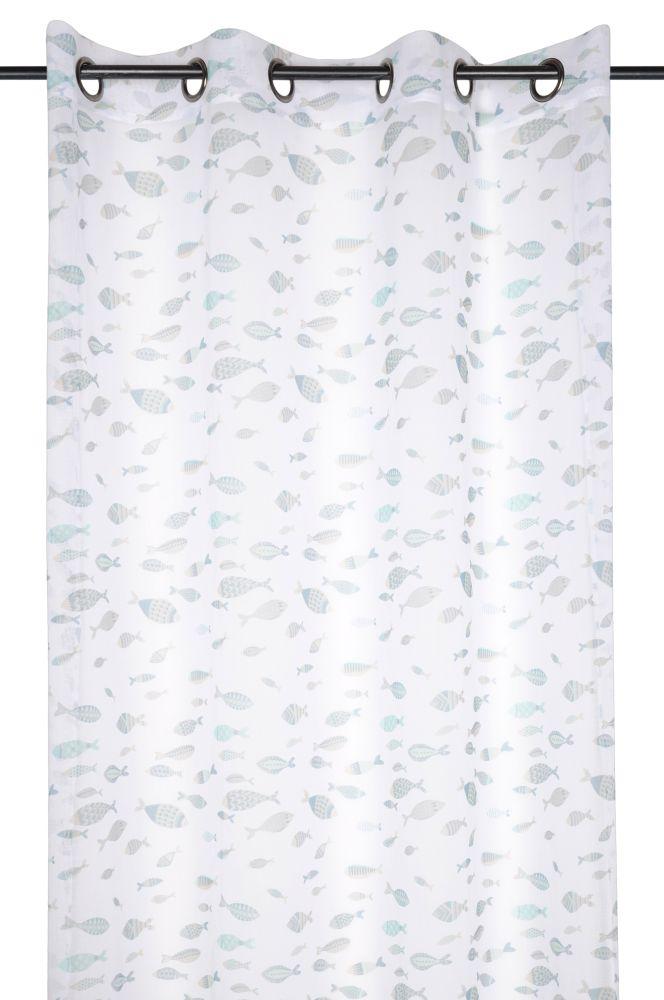 Perdea alba cu pesti Nausicaa Blanc 135x260 cm