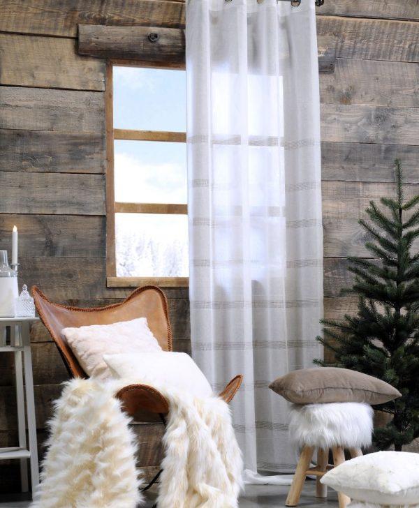 Perdea alba dungi orizontale Bliss Blanc 140x260 cm