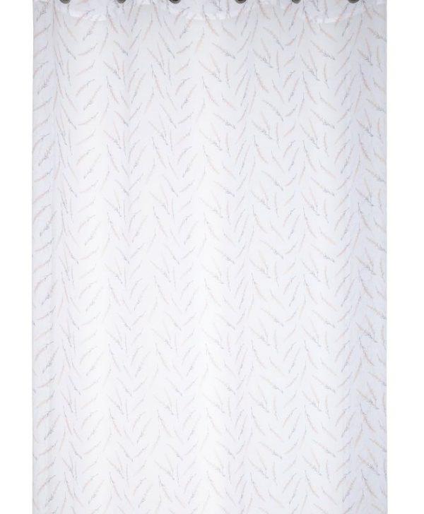 Perdea alba florala Cavaillon Blanc 135x260 cm